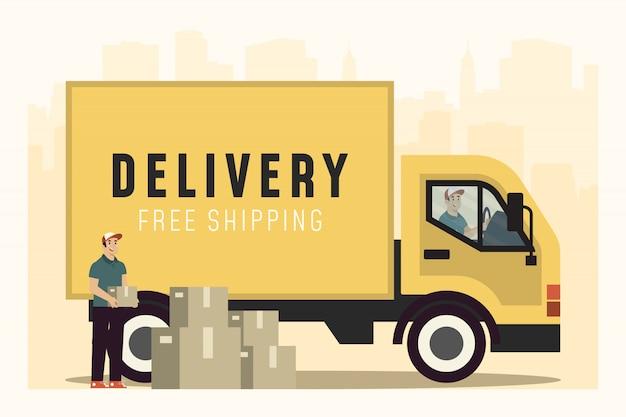 Leve o conceito de entregador no caminhão Vetor Premium