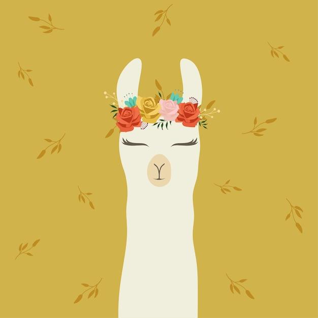 Lhama bonito com coroa de flor bonita Vetor Premium