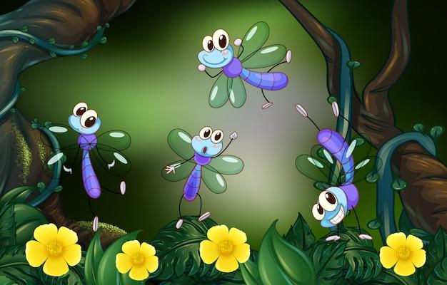 Libélulas voando na floresta profunda Vetor grátis