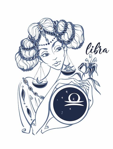 Libra do sinal do zodíaco como uma menina bonita. Vetor Premium