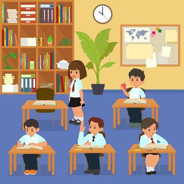 Lição da escola. alunos em sala de aula na lição. Vetor Premium