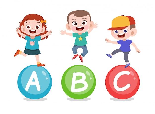 Lição de carta de crianças Vetor Premium