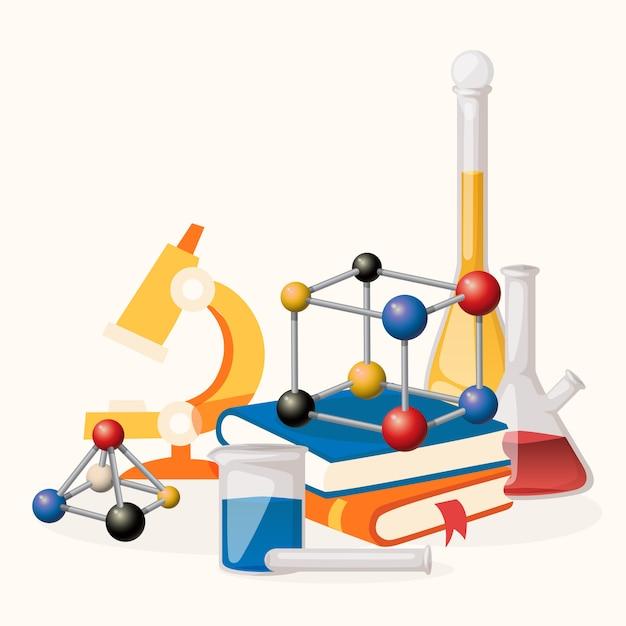 Lição de química fornece ilustração. equipamento de laboratório, como microscópio, frascos com líquido, formas de moléculas. pilha de livros Vetor Premium