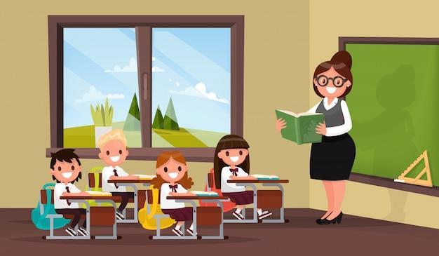 Lição. um professor com alunos na sala de aula da escola primária. Vetor Premium