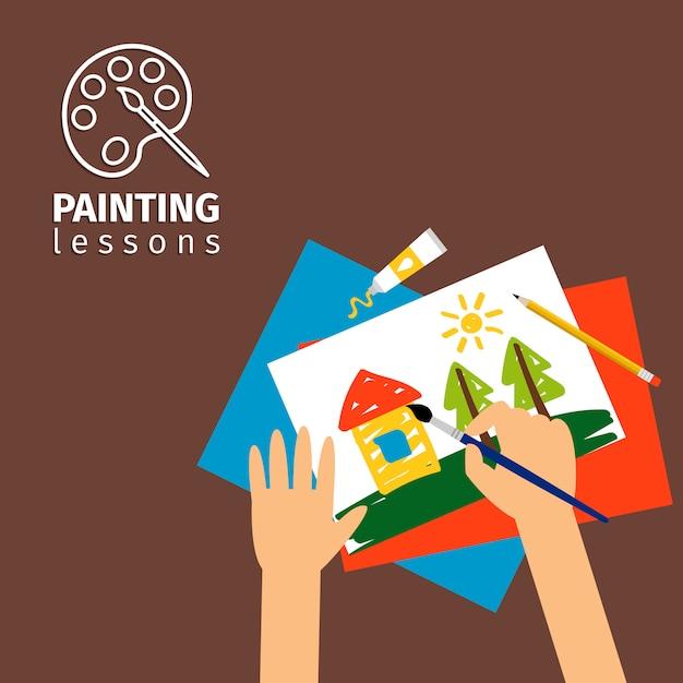 Lições de pintura de crianças Vetor Premium