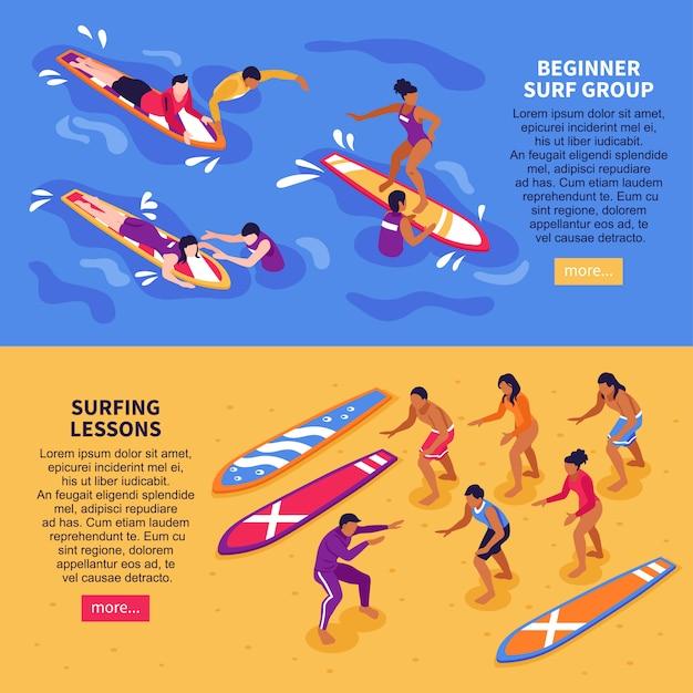 Lições de surf banners horizontais Vetor grátis