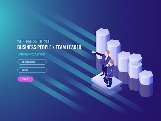Líder de equipe, equipe de trabalho para o sucesso, dois executivos, agendar Vetor grátis