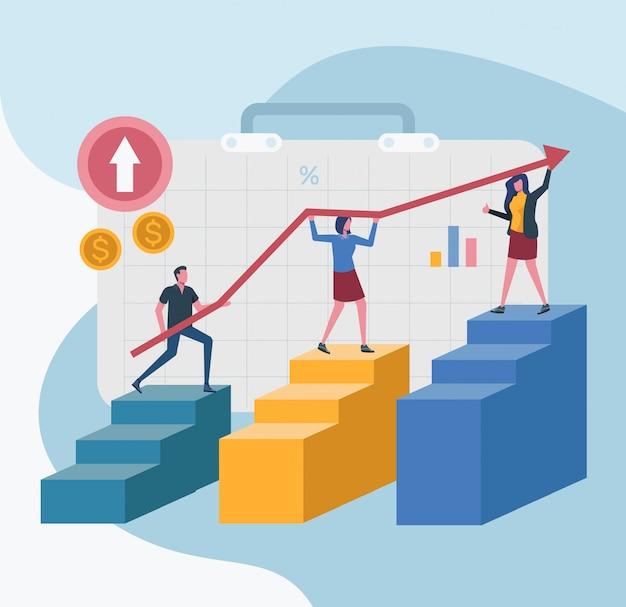 Líder de escritório líder de equipe atingir o gráfico de metas da empresa Vetor Premium