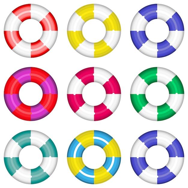 Lifebuoys coloridos ajustados com salvação da vida das listras. ilustração de coleção isolada. lifebuoys coloridos coloridos ajustados que salvar a natação da água da vida. Vetor Premium