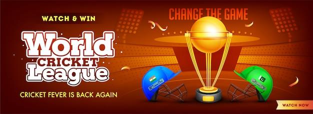 Liga mundial de críquete entre a índia e o paquistão Vetor Premium