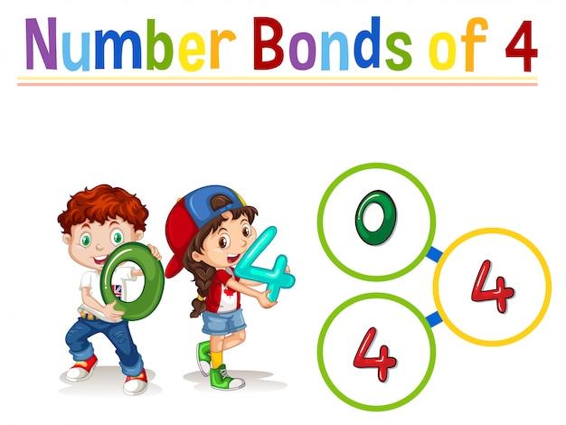 Ligações numéricas de quatro Vetor grátis