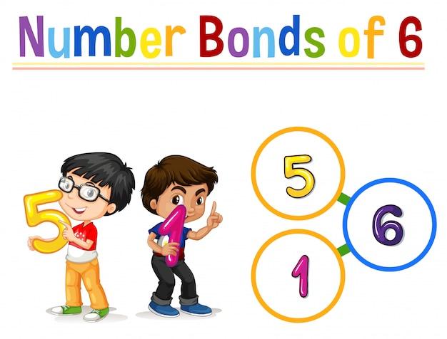 Ligações numéricas de seis Vetor grátis