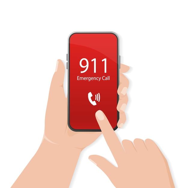 Ligando. . celular. tela de toque de dedo. primeiros socorros. smartphone com tela de chamada. dispositivo móvel . Vetor Premium
