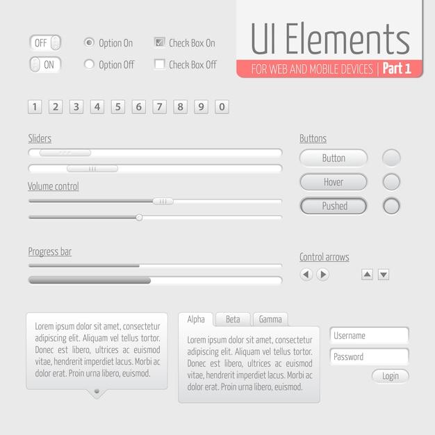 Light ui elements parte 1: sliders, barra de progresso, botões, formulário de autorização, controle de volume etc. Vetor grátis