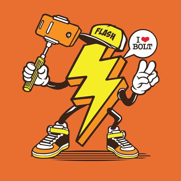Lightning bolt selfie characte Vetor Premium