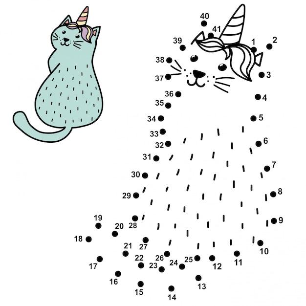 Ligue os pontos e desenhe um gato unicórnio engraçado. jogo de números para crianças com caticorn. Vetor Premium