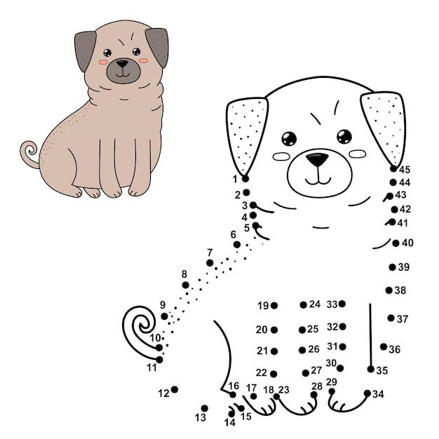 Ligue Os Pontos Para Desenhar O Cachorro Fofo E Colorir Numeros