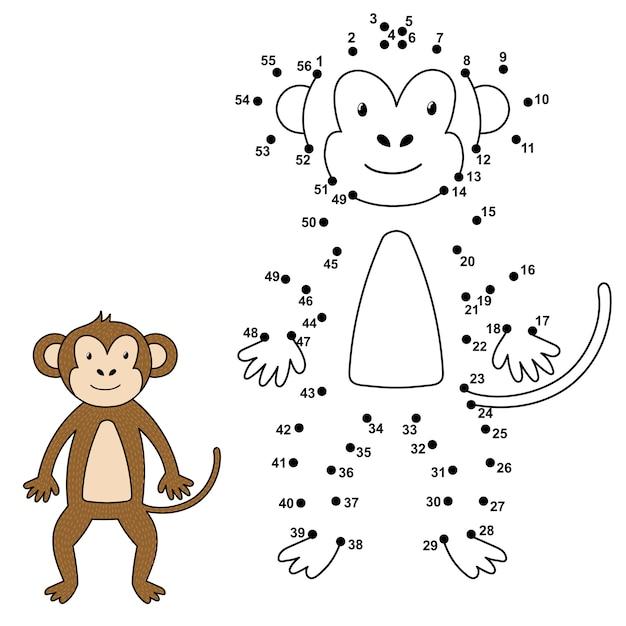Ligue Os Pontos Para Desenhar O Macaco Fofo E Colorir Numeros