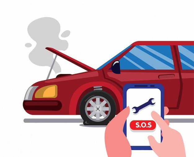 Ligue para a assistência de emergência na estrada usando o smartphone em um acidente de carro. conceito de serviço de seguro de carro na ilustração plana dos desenhos animados isolado Vetor Premium