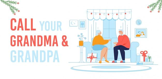Ligue para avós nos feriados de natal Vetor Premium