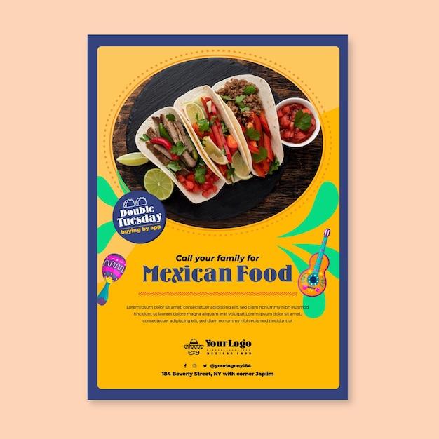 Ligue para sua família e peça um modelo de panfleto de comida mexicana Vetor grátis