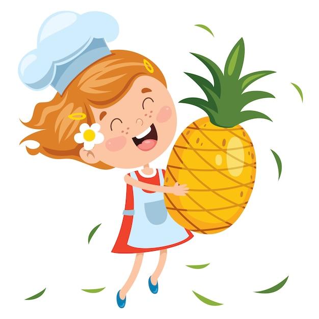 Liitle criança e fruta dos desenhos animados Vetor Premium