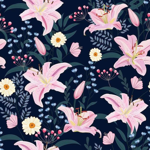 Lily flor padrão sem emenda sobre fundo azul com floral Vetor Premium
