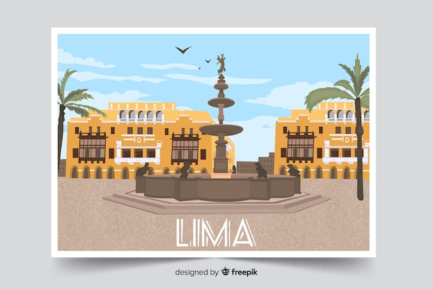 Lima centro cidade plano de fundo Vetor grátis