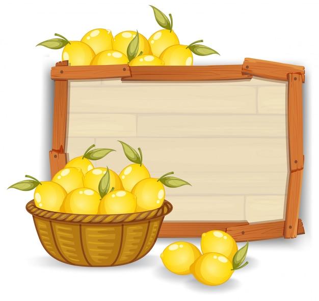 Limão, ligado, tábua madeira Vetor grátis