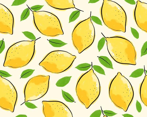 Limão sem costura com fundo de folha. Vetor Premium