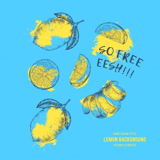 Limões verão prin Vetor Premium