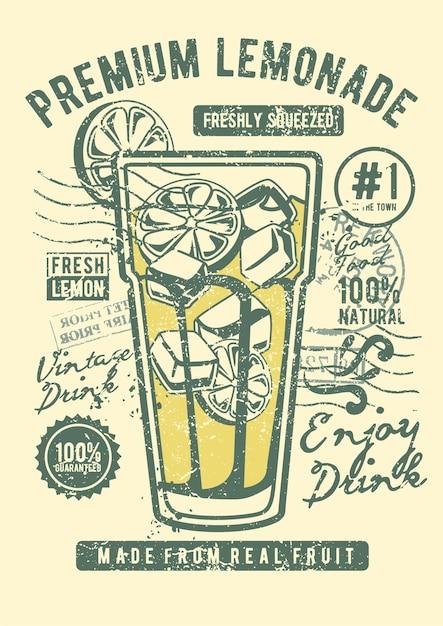 Limonada, pôster de ilustração vintage. Vetor Premium