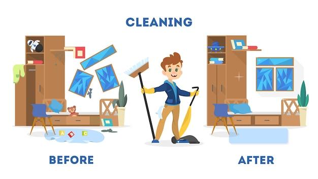 Limpando o conceito de casa. antes e depois da vista na sala. menino com vassoura e aspirador de pó. ilustração em vetor isolada em estilo cartoon Vetor Premium