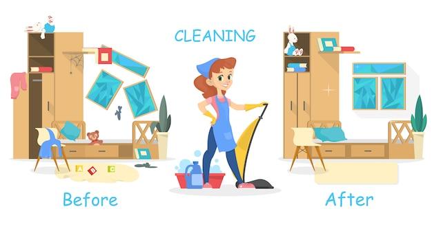 Limpando o conceito de casa. antes e depois da vista na sala. mulher com aspirador de pó. ilustração em estilo cartoon Vetor Premium