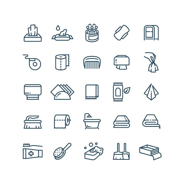Limpe as mãos e os ícones de linha de guardanapos anti-séptico. símbolos sanitários e de higiene Vetor Premium