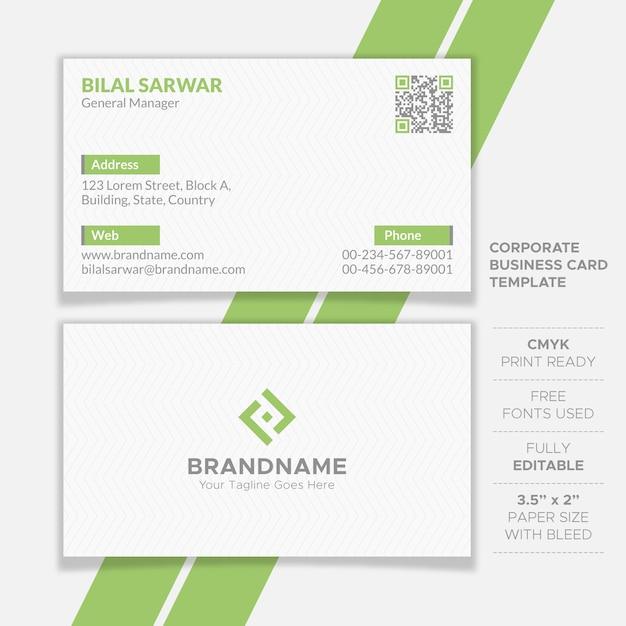 Limpe o design de cartão corporativo Vetor Premium