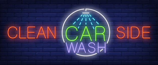 Limpe o lado, texto de néon carwash com chuveiro Vetor grátis