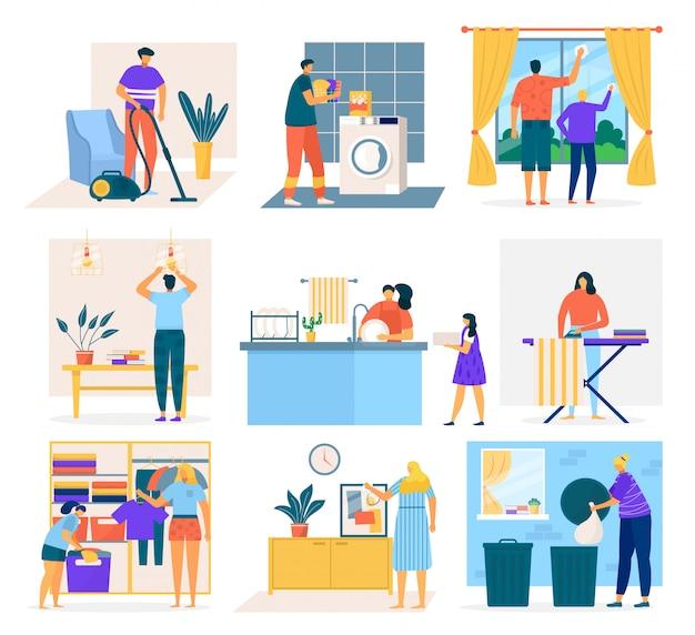 Limpeza da casa e pessoas fazendo trabalhos domésticos, conjunto de ilustração dos desenhos animados. homens, mulheres e crianças lavando louça, limpando janelas, passando o aspirador de carpete, dobrando roupas, recolhendo lixo. Vetor Premium