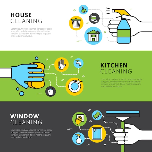 Limpeza de banners planas com detergentes de mãos e ferramentas para limpeza de cozinha e janela de casa Vetor grátis