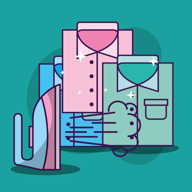Limpeza de lavanderia relacionada Vetor Premium