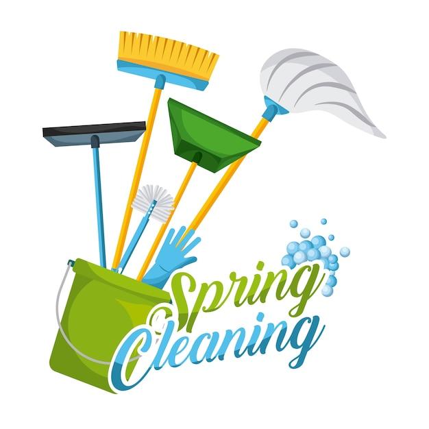 Limpeza de primavera, decoração e equipamento de ferramentas domésticas Vetor Premium