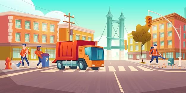 Limpeza de ruas com caminhão de lixo e vassouras Vetor grátis