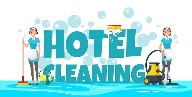 Limpeza do hotel, empregadas no uniforme com equipamento. Vetor Premium