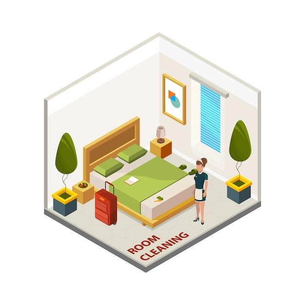 Limpeza do quarto de hotel. serviço de limpeza isométrica, empregada no quarto de hotel Vetor Premium