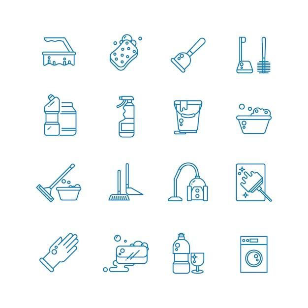 Limpeza e lavagem de ícones de contorno de casa. Vetor Premium