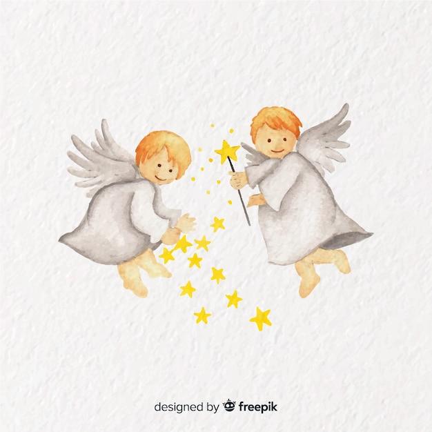Linda aguarela natal anjo casal fundo Vetor grátis