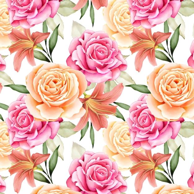 Linda aquarela floral e folhas padrão sem emenda Vetor Premium