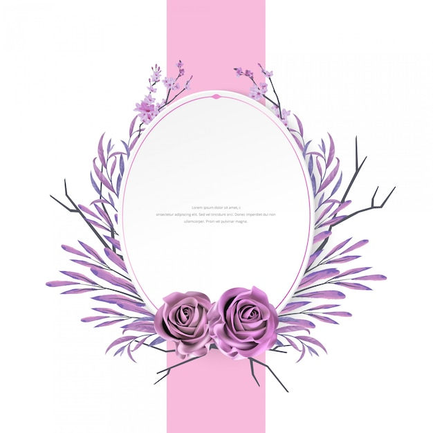 Linda aquarela floral e moldura rosa Vetor Premium