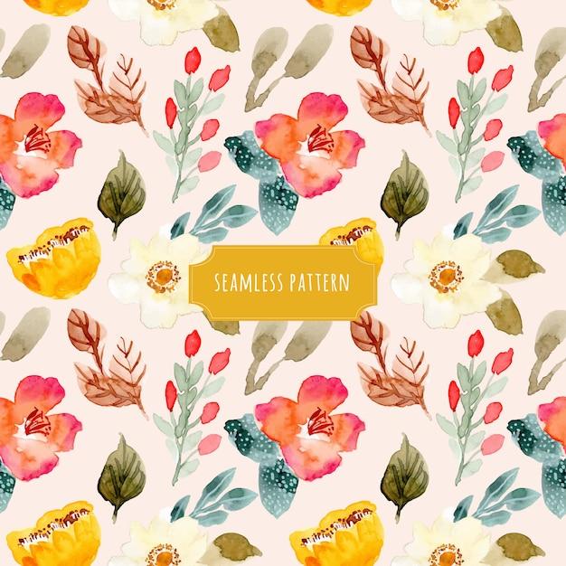 Linda aquarela floral padrão sem emenda Vetor Premium