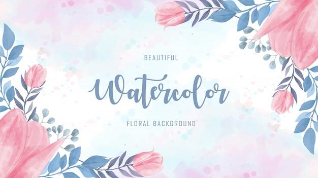 Linda aquarela flores floral azul fundo rosa Vetor Premium